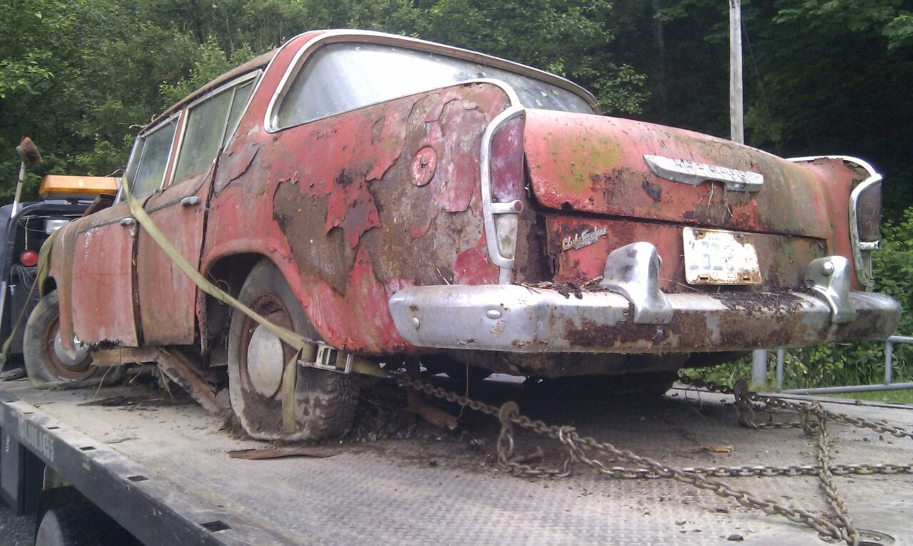 Scrap removal of an older car